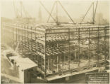 Nearly completed steel structure of new Central Library of the Enoch Pratt Free Library (view...
