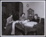 Star-Spangled Banner flag replica being sewn by Maryland's National Society of Colonial Dames of America volunteers,...
