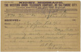Telegram: B. P. Raymond and W. F. McDowell to John Franklin Goucher, February 9, 1904