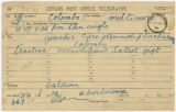 Telegram: Charles W. Baldwin or Summerfield Baldwin to John Franklin Goucher, November 28, 1906