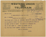 Telegram: Mrs. W. F. MacDowell [McDowell] to John Franklin Goucher, June 9, 1917