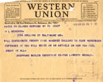 Telegram to H.L. Mencken requesting him to write an article about his feelings on being married