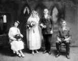 Portrait of wedding party, marriage of Elizabeth Zimmerer and Michael Kahl, 1920.