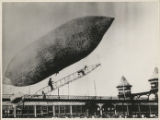 Lincoln Beachey launching dirigible (airship) at Electric Park, Baltimore, Maryland, July 23, 1908