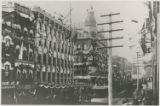 Buildings on Baltimore Street at its intersection with South Street decorated in celebration of...