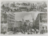 Sketches from Leslie's Illustrated Newspaper of celebration of Baltimore's sesquicentennial...