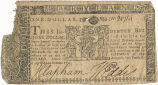 Maryland one dollar note, April 10, 1774