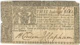 Maryland eight dollar note, March 1, 1770
