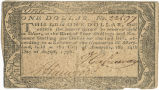 Maryland one dollar note,  August 14, 1776