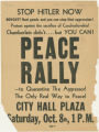 Flyer for peace rally held at City Hall Plaza in Baltimore, Oct. 8, 1938