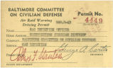 Air raid warning driving permit, March 2, 1943