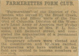 Newspaper clipping titled Farmerettes Form Club, circa 1918