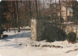 Brentwood driveway entry gate pier and wall (right side) faced with Stoneyhurse Quarries stone,...