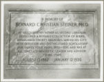Bernard Christian Steiner memorial plaque, Enoch Pratt Free Library Central Branch, Cathedral...