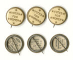 """Votes for women"" pins, circa 1910"