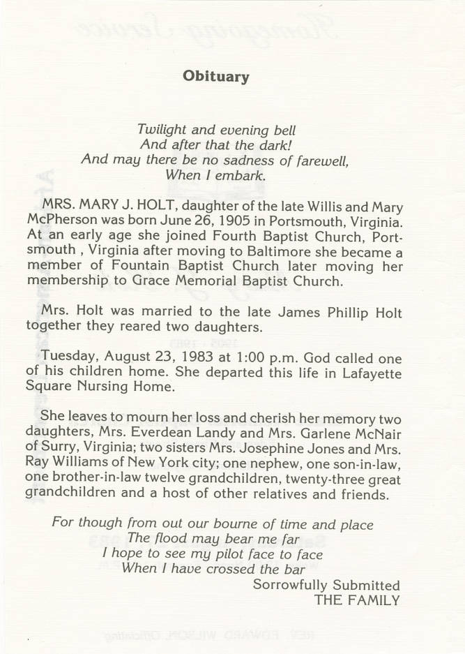 Obituary including verses from Tennyson's Crossing the Bar