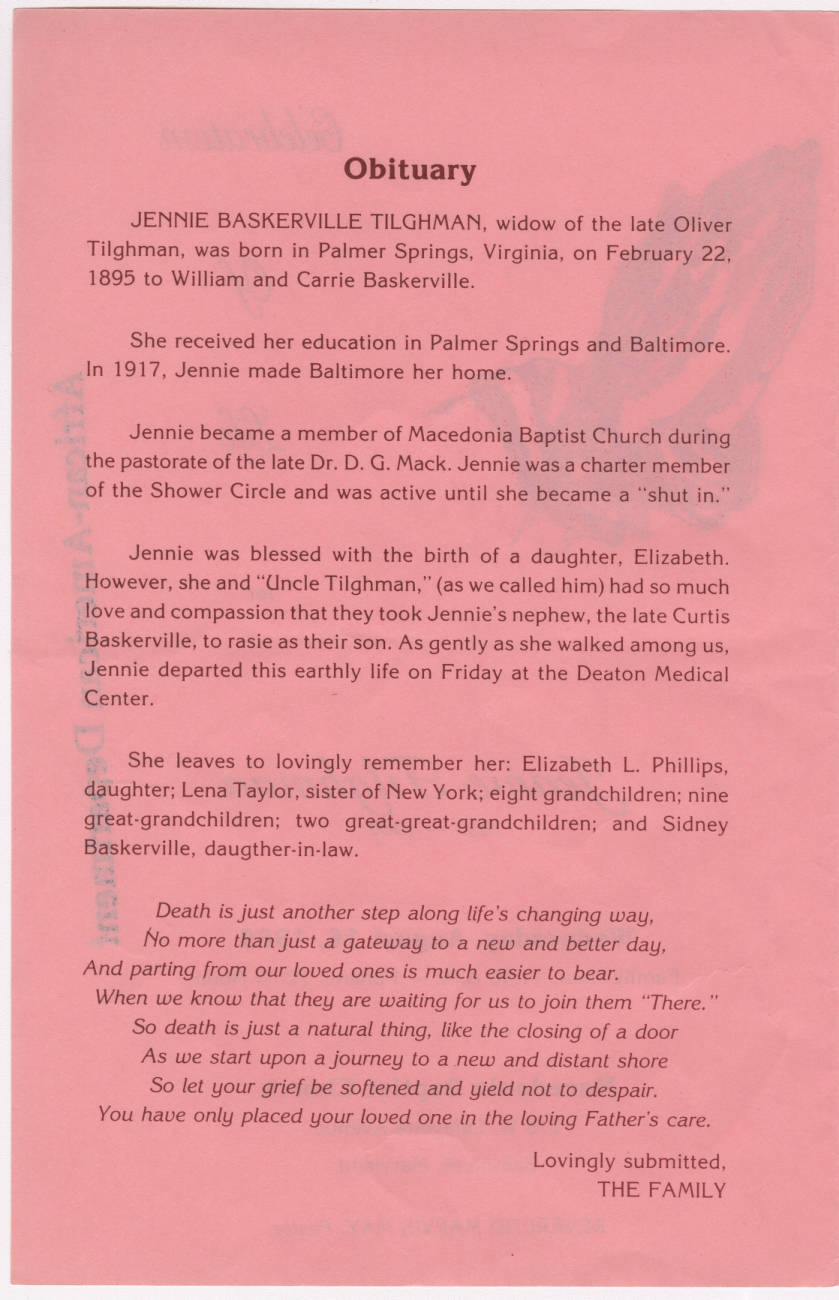Obituary including family-selected poem of Helen Steiner