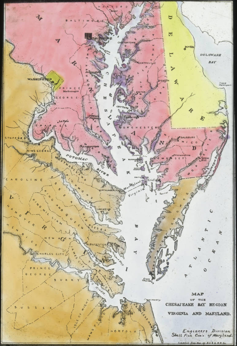 Map Of Maryland And Virginia Map of Chesapeake Bay Country, Maryland and Virginia   Swepson