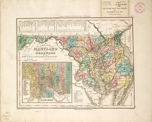1844 - A new map of Maryland and Delaware with their canals ...